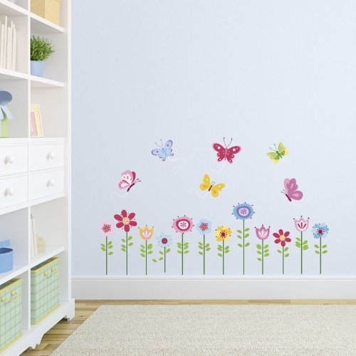 Bright Butterfly Garden Decorative Peel & Stick Wall Art Sticker Regarding Stick On Wall Art (Image 2 of 10)