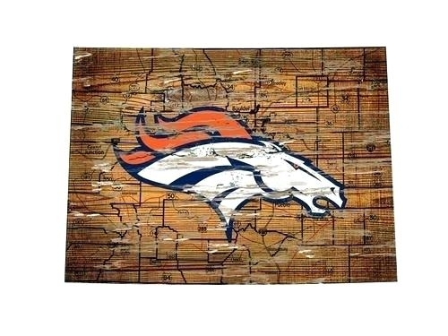 Broncos Wall Art Broncos Wall Art Vintage State Map Logo Sign Denver Within Broncos Wall Art (Image 2 of 10)