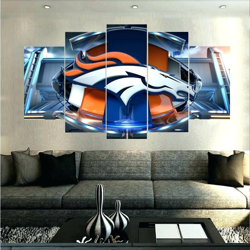 Broncos Wall Art Superb Denver Picture 5 Piece Abstract Canvas Within Broncos Wall Art (Image 3 of 10)
