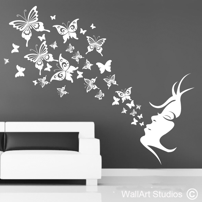 Butterfly Breath | Home Decor Vinyl Decals | Wall Art Studios With Butterfly Wall Art (Image 4 of 10)