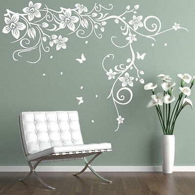 Butterfly Vine Flower Vinyl Wall Art Stickers, Wall Decals, Wall Intended For Wall Art Stickers (Image 2 of 10)