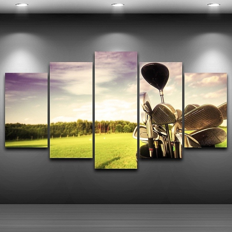 Buy 5 Panel Wall Art Golf And Get Free Shipping On Aliexpress Inside Golf Canvas Wall Art (Image 4 of 10)