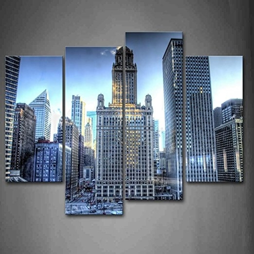 Buy First Wall Artâ® – Tall Buildings With Many Windows In In Chicago Wall Art (Image 2 of 10)
