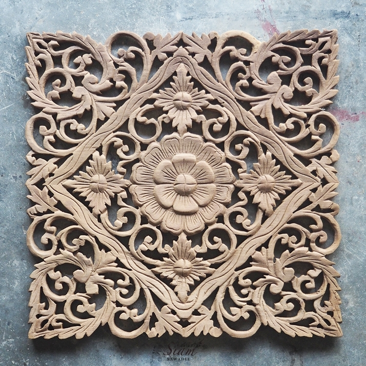 Buy Lotus Carved Wood Wall Art Panel From Bali Online With Wood Carved Wall Art (Image 2 of 10)