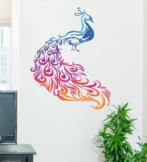Buy Pvc Vinyl Colourful Peacock Wall Stickerdecor Kafe Online Inside Peacock Wall Art (Image 2 of 10)