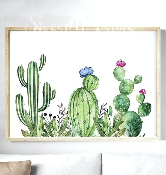 Cactus Wall Art Modern Green Plant Cactus Canvas Art Print Poster Throughout Cactus Wall Art (View 9 of 10)