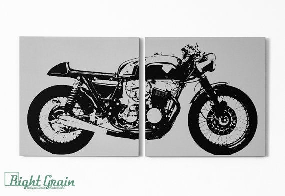 Cafe Racer Motorcycle Wall Art – Vintage Garage Decor In Custom Intended For Motorcycle Wall Art (Image 2 of 10)