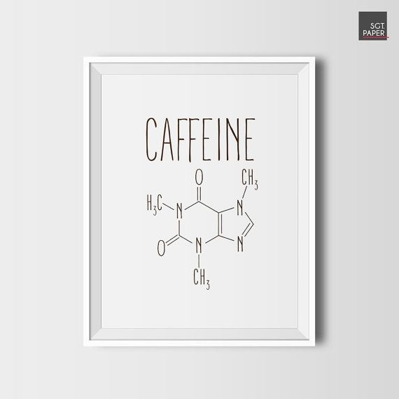 Caffeine Molecule, Coffee Decor, Printable Coffee, Digital Download Intended For Coffee Wall Art (Image 3 of 10)