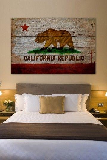 California Republic American Reclaimed Wood Wall Artoliver Gal Regarding California Wall Art (View 5 of 10)