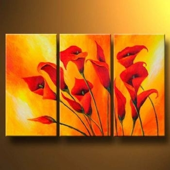 Callas In Orange  Modern Canvas Art Wall Decor  Floral Oil Painting Pertaining To Modern Painting Canvas Wall Art (Image 6 of 10)