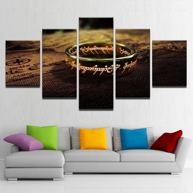 Canvas Pictures Living Room Wall Art Framework 5 Pieces Lord Of The Intended For Lord Of The Rings Wall Art (Image 2 of 10)