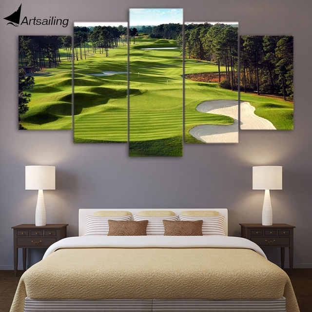 Canvas Print 5 Pieces Paintings Golf Course Wall Art Canvas Pictures With Regard To Golf Canvas Wall Art (Image 5 of 10)