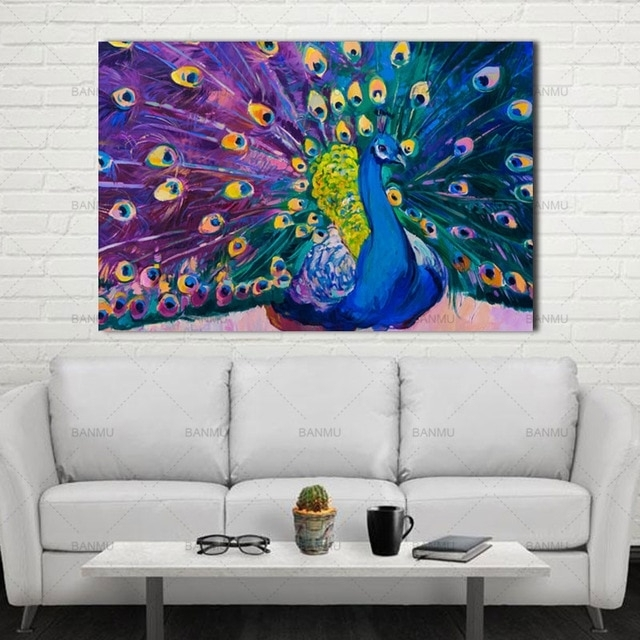 Canvas Prints Home Decor Modern Animal Wall Art Painting Peacock With Regard To Peacock Wall Art (Image 3 of 10)