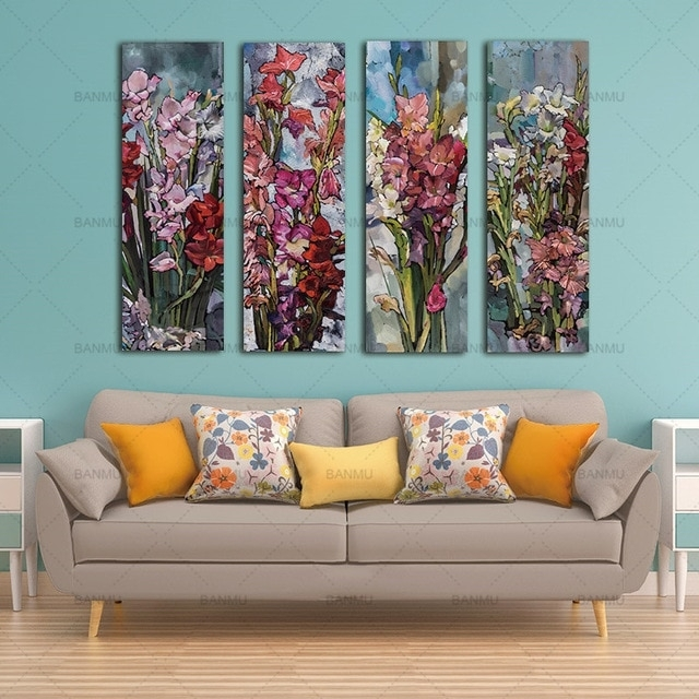 Canvas Wall Art Canvas Painting Flower Painting Wall 3 Panel Wall In Panel Wall Art (Image 6 of 10)