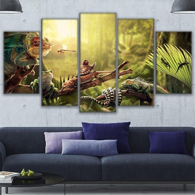 Canvas Wall Art Home Decor Prints Poster 5 Pieces Iguana Snail Gecko Pertaining To Gecko Canvas Wall Art (Image 1 of 10)