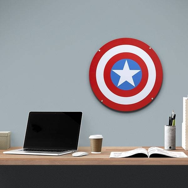 Captain America Shield Light Up Wall Art With Sound | Thinkgeek Throughout Captain America Wall Art (Image 3 of 10)