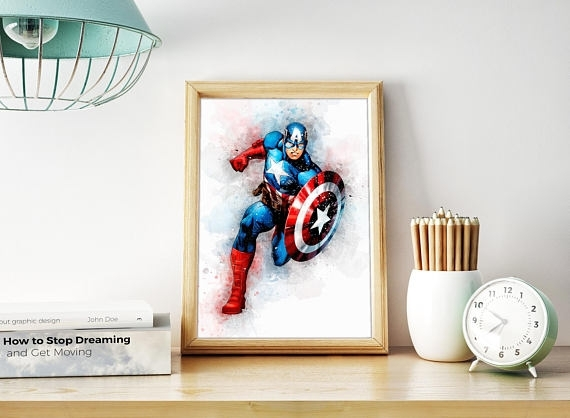 Captain America Wall Art Captain America Poster Superhero Regarding Captain America Wall Art (Image 4 of 10)