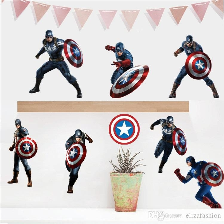 Captain America Wall Decals 3D Wall Stickers For Baby Nursery Home Within Captain America Wall Art (View 6 of 10)
