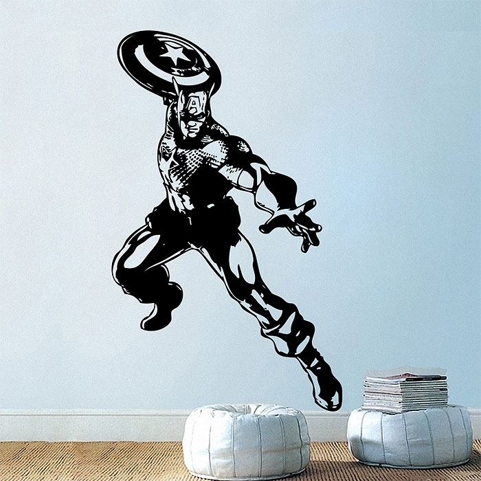 Captain American Vinyl Wall Art Decal Throughout Captain America Wall Art (Image 7 of 10)