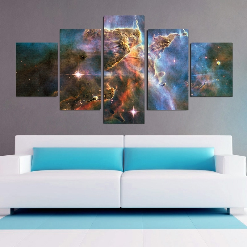 Carina Nebula 5 Piece Canvas Wall Art Set Pertaining To Five Piece Canvas Wall Art (Image 6 of 10)