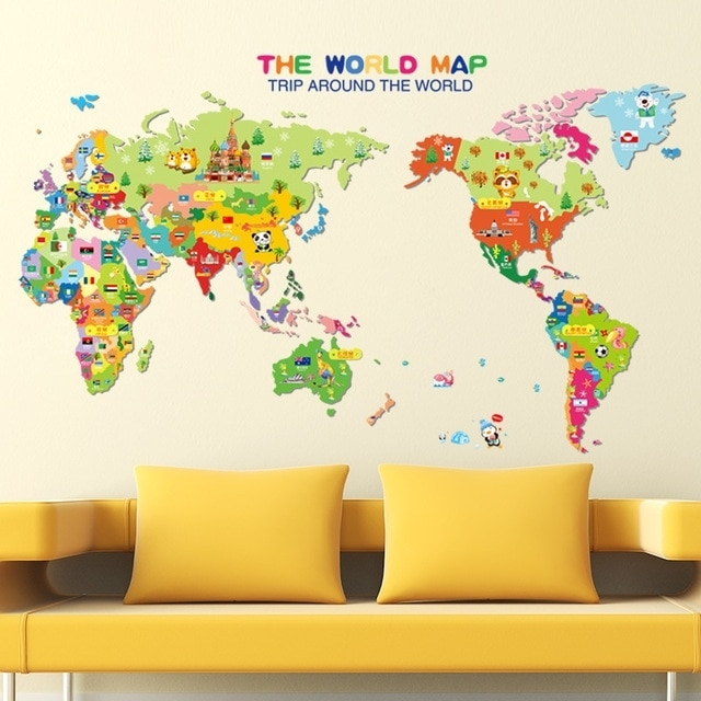 Cartoon Animals World Map Wall Art Mural Poster Colorful World Map Pertaining To Wall Art Stickers World Map (Image 3 of 10)