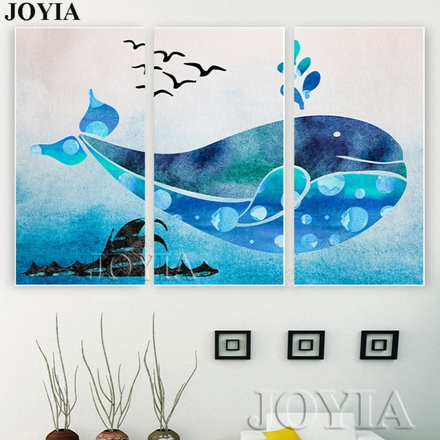 Cartoon Wall Art Blue Whale Ocean Printed Paintings Kids Room Decor Intended For Whale Canvas Wall Art (Image 2 of 10)