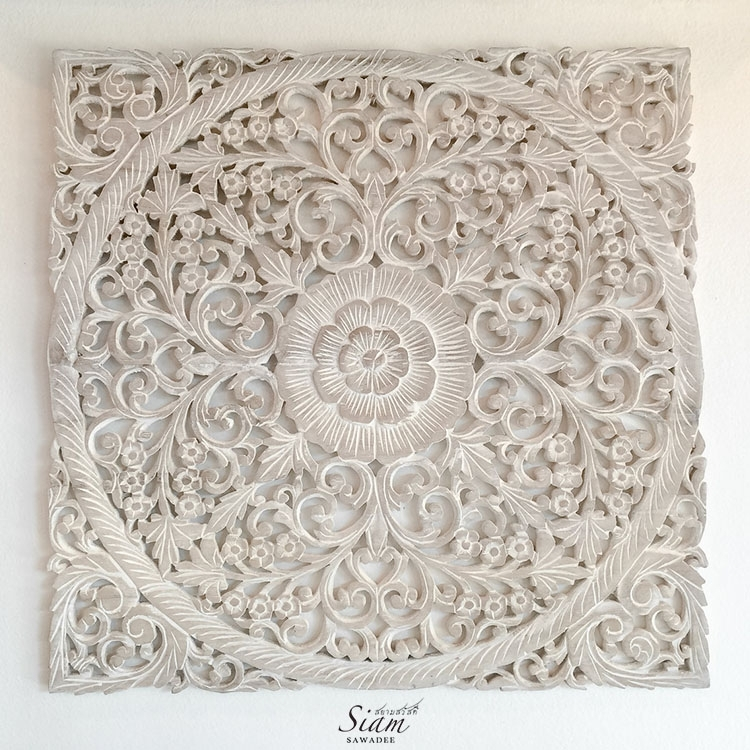 Carved Decorative Lotus Wood Carving Wall Art Panel Reclaim Teak Inside Wood Carved Wall Art (Image 3 of 10)