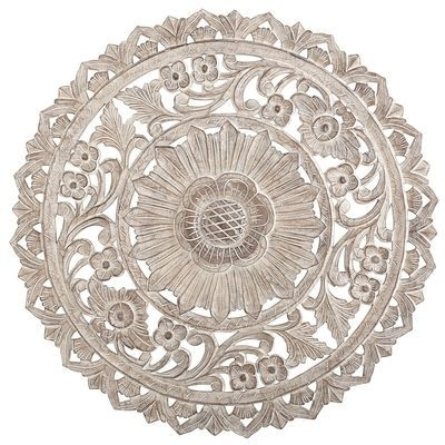 Carved Whitewashed Round Wall Decor | Wall Art | Pinterest | Wall Intended For Round Wall Art (Image 2 of 10)