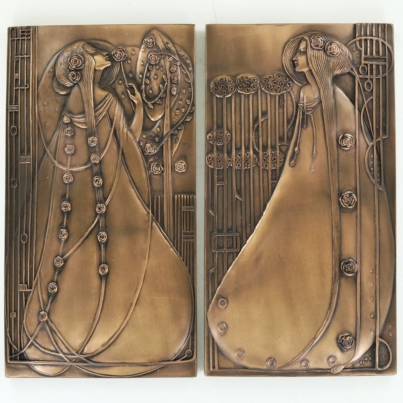 Castleton Home 2 Piece Mackintosh Style Art Deco Cold Cast Bronze Within Bronze Wall Art (Image 5 of 10)