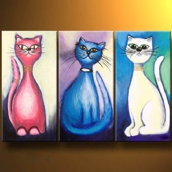 Cat Stories  Modern Canvas Art Wall Decor  Animal Oil Painting Wall Inside Cat Canvas Wall Art (Image 5 of 10)