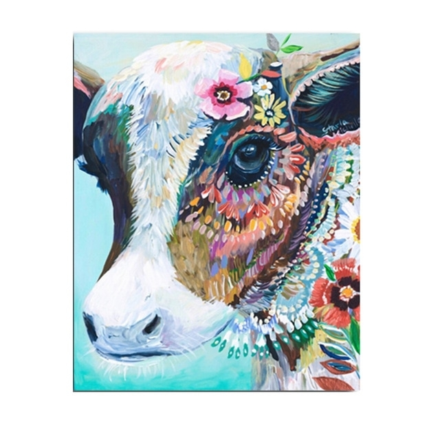 Cattle Animals Cow Head Colorful Canvas Art Printed Oil Paintings Regarding Colorful Wall Art (Image 3 of 10)