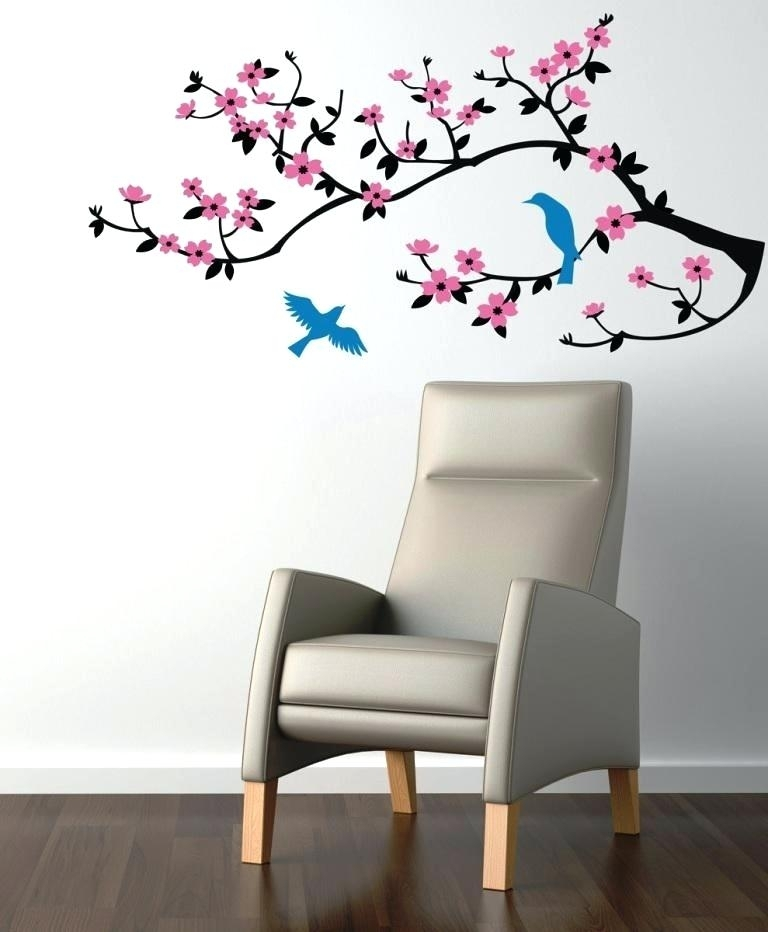 Cherry Blossom Wall Art Stickers Image Of Wall Decals Cherry Blossom Throughout Cherry Blossom Wall Art (Image 3 of 10)