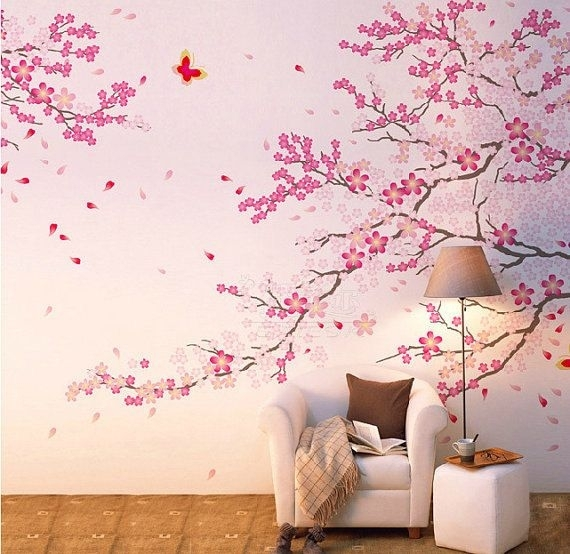 Cherry Blossom Wall Decal Pink Flower Wall Sticker Butterfly Wall Inside Cherry Blossom Wall Art (View 8 of 10)
