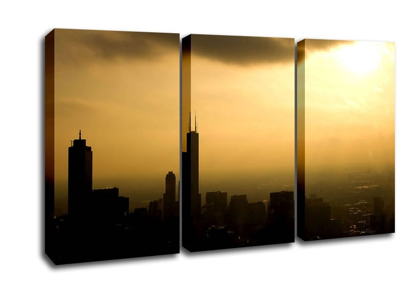 Chicago Architecture 3 Panel Canvas 3 Panel Set Canvas Within Chicago Wall Art (Image 3 of 10)