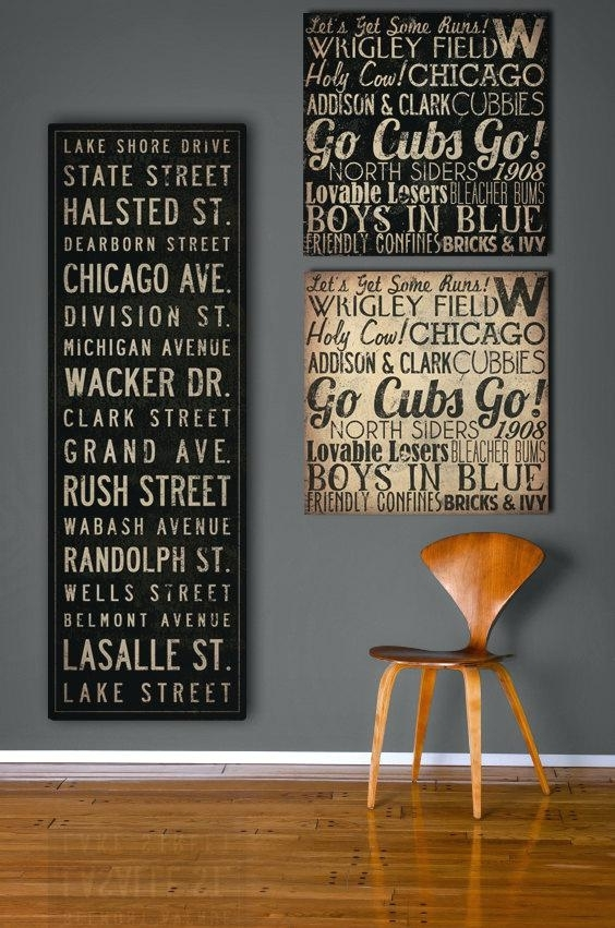 Chicago Cubs Wall Art Custom Wall Art Canvas Simple Vintage Style Throughout Custom Wall Art (Image 1 of 10)