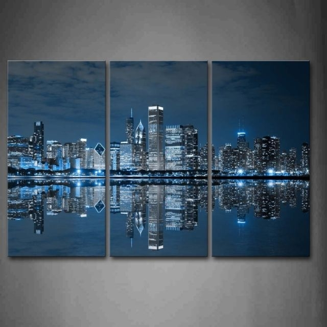 Chicago Skyline Wall Art Painting Canvas City Print Photo Frame Home Inside Chicago Wall Art (Image 5 of 10)
