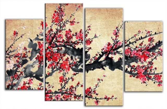 Chinese Blossom Tree Beautiful Chinese Wall Art – Wall Decoration Ideas Intended For Chinese Wall Art (Image 3 of 10)