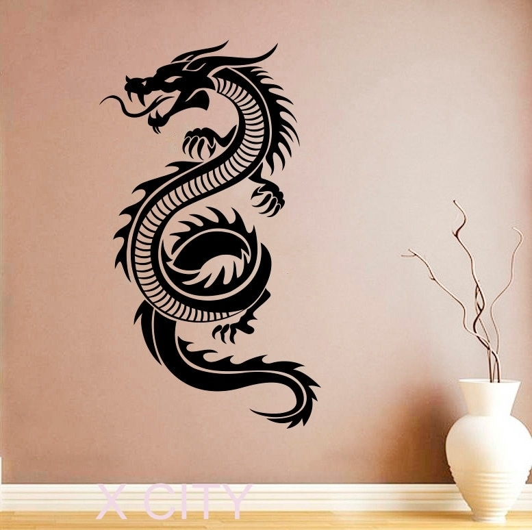 Chinese Dragon Sticker Wall Art Orient Mythology Decal Vinyl Home With Regard To Dragon Wall Art (Image 2 of 10)