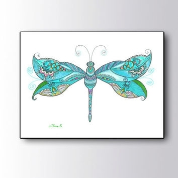 Christmas Gift Idea, Blue Dragonfly From Dhanadesign On Etsy | My Intended For Dragonfly Painting Wall Art (Image 3 of 10)