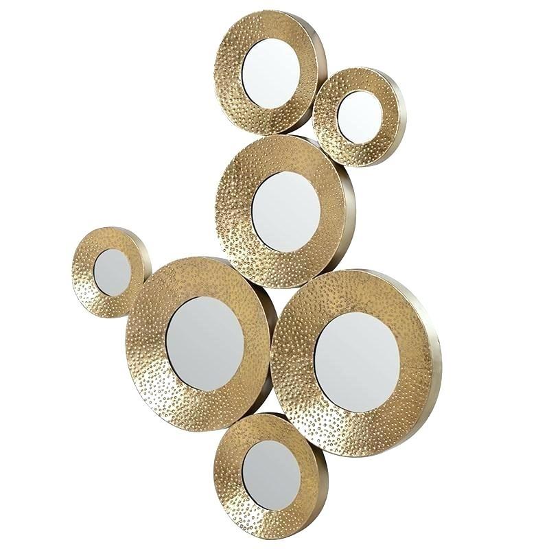 Circle Metal Wall Art Gold Metal Circle Mirror Wall Art Sculpture Intended For Gold Metal Wall Art (Image 2 of 10)