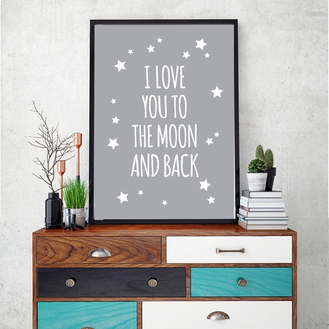 Classic Quote I Love You To The Moon And Back Nursery Wall Art Inside I Love You To The Moon And Back Wall Art (View 3 of 10)