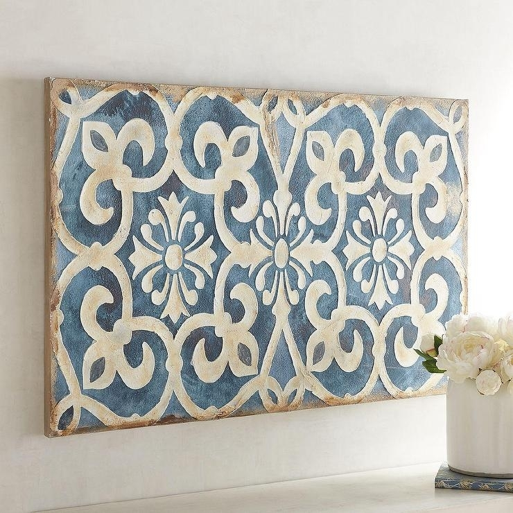 Classy Design Rectangular Wall Art Home Pictures Indigo Tile Throughout Tile Canvas Wall Art (Image 4 of 10)