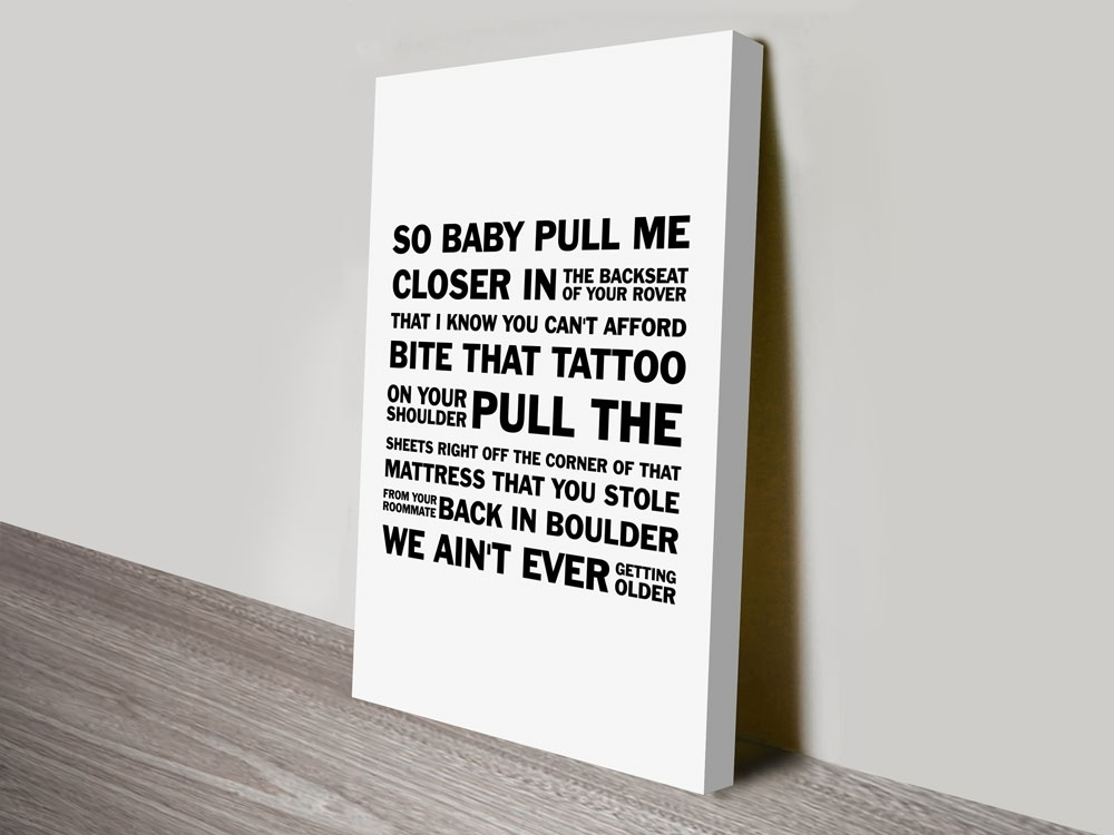 Closerthe Chainsmokers Song Lyrics Typographic Word Canvas Wall Art With Song Lyric Wall Art (Image 3 of 10)