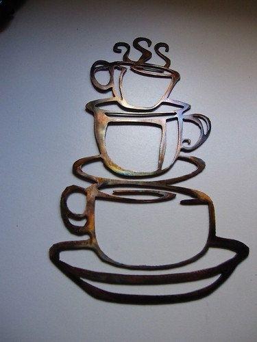 Coffee Cups Kitchen Home Decor Metal Wallheavensgatemetalwork With Regard To Kitchen Metal Wall Art (Image 1 of 10)