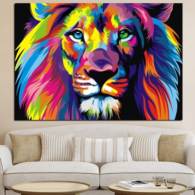 Colorful Animal Wall Art Lion Canvas Lion Painting Animal Oil Within Colorful Wall Art (Image 4 of 10)