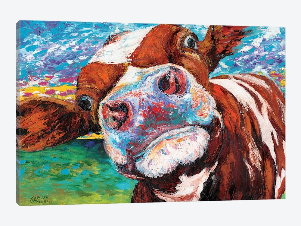 Colorful Cow Canvas Art Print Gertrude For Prints On Designs 13 Intended For Cow Canvas Wall Art (Image 3 of 10)