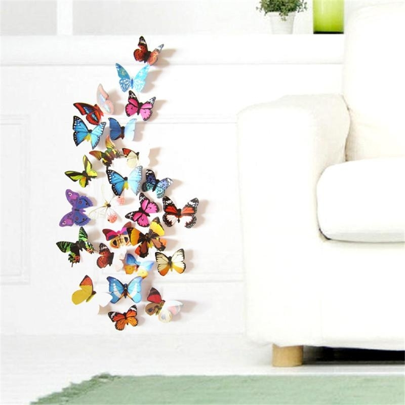 Colorful Design 3D Butterfly Wall Sticker Decor Butterflies Art Wall Inside Butterfly Wall Art (Image 5 of 10)