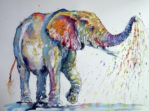 Colorful Elephant Large Elephant Wall Art – Canvas Art Wall Deacor In Elephant Wall Art (View 7 of 10)
