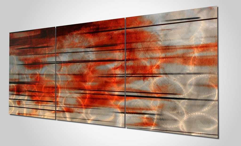 Contemporary Silver Orange Wall Art | 'interlude' Modern Wal… | Flickr With Regard To Orange Wall Art (Image 4 of 10)
