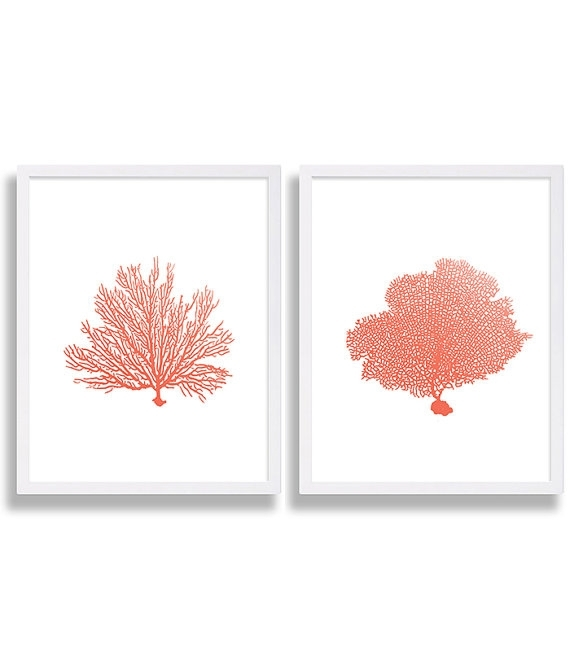 Coral Wall Art Prints Coral Color Decor Coral Prints Water Color Art Intended For Coral Wall Art (Image 6 of 10)